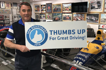 Nigel Mansell supports the IAM RoadSmart 'Thumps Up' campaign