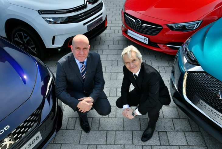 Phil Ryan, MD business roadside, RAC and Richard Dyson, Groupe PSA sales and service director at the announcement of a new three-year contract between RAC and Groupe PSA
