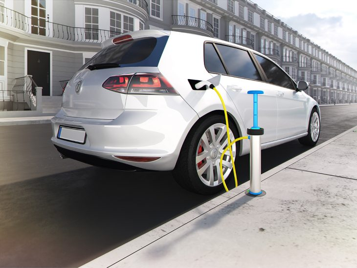 A CGI of the new Trojan Energy charge point, allowing discreet kerbside charging